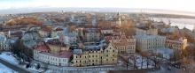 Панорама старой части Выборга с башни Св.Олафа зимним вечером в конце ноября